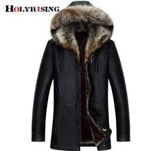 HOlyrising 冬 PU ジャケット革のコートの男性の毛皮フード付き厚く男性の冬のコートプラスサイズ 3XL 4XL 18296