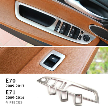 Car Door Armrest panel decoration decals 4pcs For BMW X5 e70 X6 e71 2008-14 Stainless steel Window Glass Lifting Buttons Trim image
