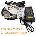 Светодиодная лента  водонепроницаемая  IP65  RGB + белый или RGB + теплый белый  60 светодиодов/м + 2 4G пульт дистанционного управления + 12 В  5 А