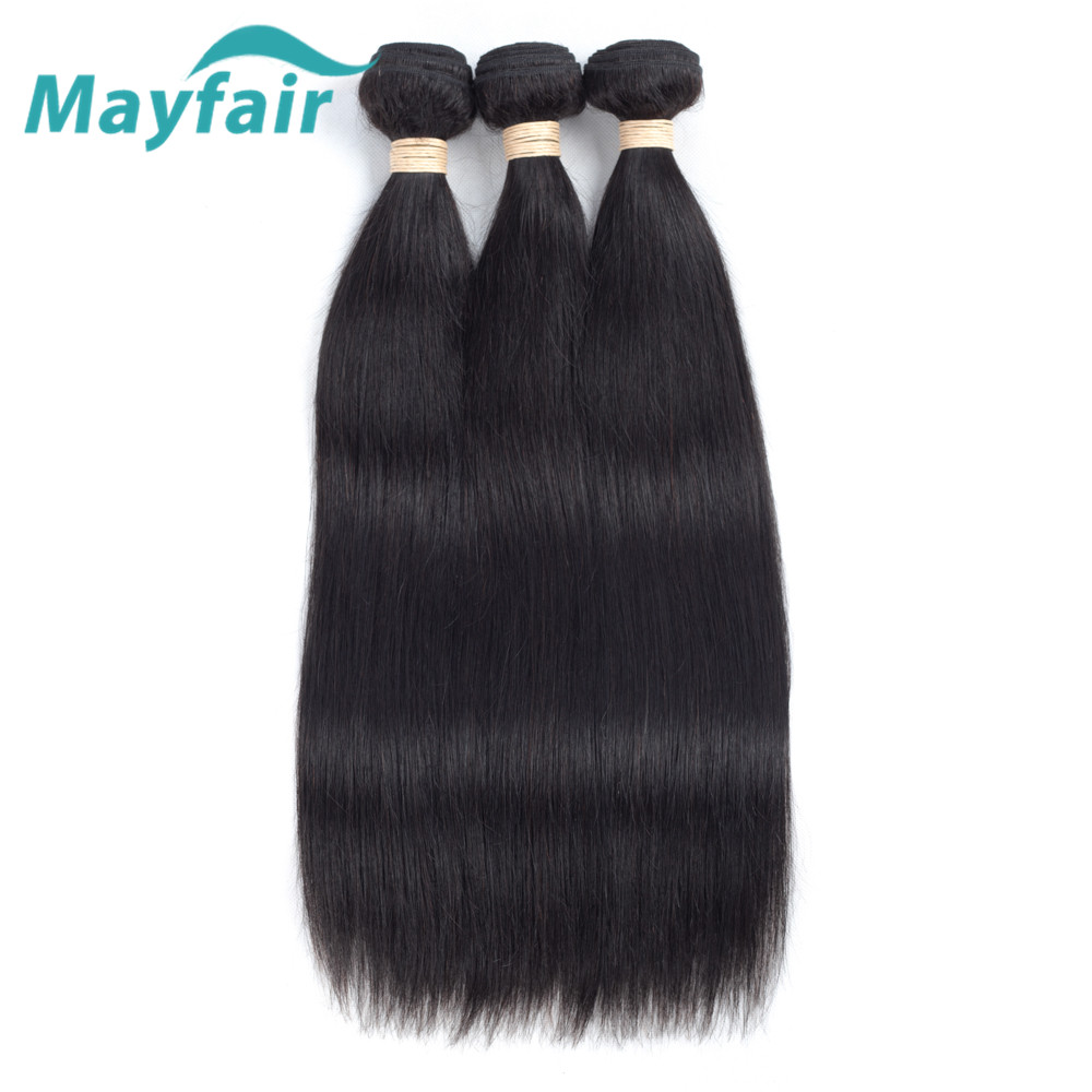 Mayfair Hair Brazilian Straight Hair 3 Pcs Human Hair Bundles Remy Hair Extention Natural Color