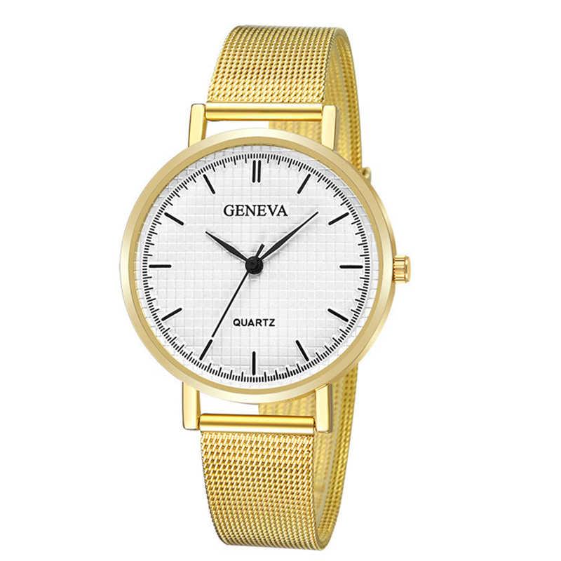 Модные золотые Щепка сетки Часы из нержавейки Для женщин лучший бренд класса люкс Повседневное часы женские наручные часы Relogio Feminino xfcs