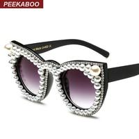 Coucou De Mode de luxe strass cat eye lunettes de soleil femmes marque designer surdimensionné chat lunettes de soleil perle dames partie noir