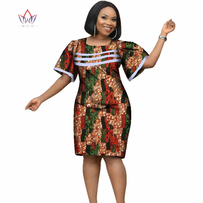 2019 Africa Dress For Women African Wax Print Dresses Dashiki Plus Size  Africa Style Clothing for Women Office Dress WY2353