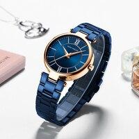 MINIFOCUS 2018 New Ladies Fashion Blue Gold Watch Women Stainless Steel Quartz Wrist Watch Luxury Women Watches relogio feminino