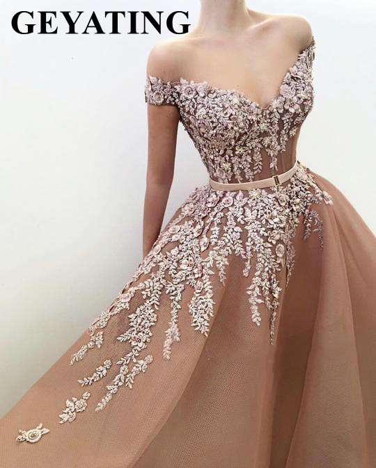Elegant Off the Shoulder Tulle Champagne   Evening     Dress   2019 Long Appliques Beaded 3D Floral Prom   Dresses   Women Formal Party Gown