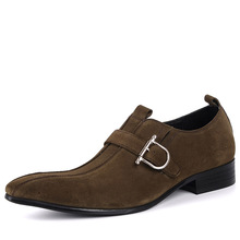 QYFCIOUFU Brand 100% Genuine Leather Buckle Slip On Men's Suede Dress Shoes Business Shoes High Quality Italian Pointy Shoes