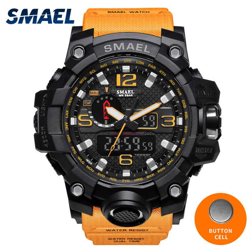 Orange Wrist Watch Men LED Clock Digital Watch Date Watproof Sport Wristwatch Stopwatch Alarm 1545 Mens Watches Military Army sport student children watch kids watches boys girls clock child led digital wristwatch electronic wrist watch for boy girl gift