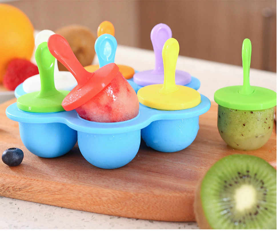 2019 Newest Hot Rainbow Color 7 Silicone Block Pole Lolly Ice Cream Popsicle Maker Mold Frozen Mould DIY Tool