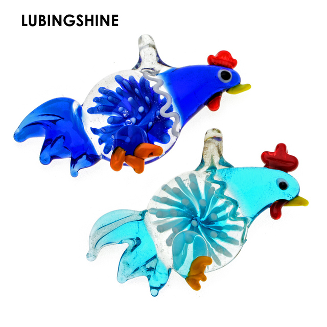 97e972d11 Mix Color Animal Rooster Chicken Murano Lampwork Glass Pendant Crystal European  Bead Charms Jewelry JJAL BE391