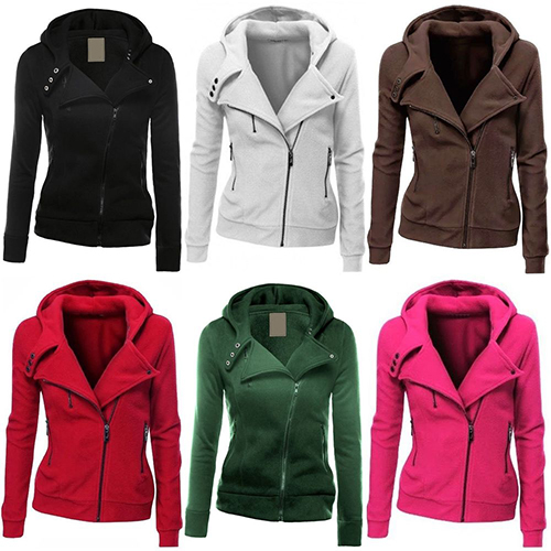 font b Women b font Fashion Zipper Hoodie Hooded Sweatshirt Coat font b Jacket b