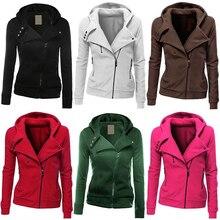 Women Fashion Zipper Hoodie Hooded Sweatshirt Coat Jacket Casual Slim Outwear Femmes camisa chemise camicia Mujer