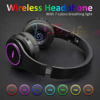 RU shipping wireless headphones handfree bluetooth headset 7 LED light (can on/off) Support TF Card earphone with mic