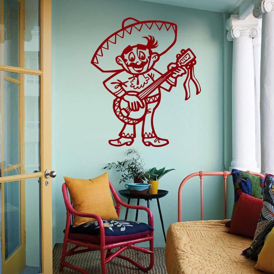 Mexican decorations for restaurants - Art Vinyl Sticker Mexican Folk Music Banjo Design Mexican Club Decor Mexican Restaurant Boys Children S Room
