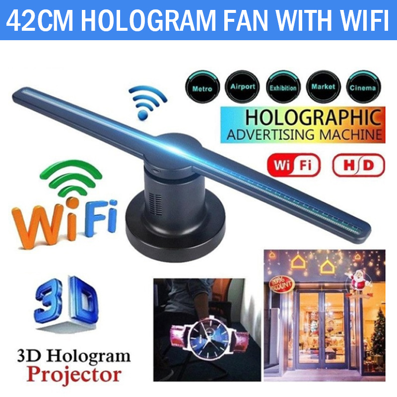 3D hologramme projecteur ventilateur holographique lecteur magasin signes Wifi avec 16G TF lampe Kit publicitaire 224 LED s hologrammes LED