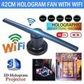 3D голографический проектор вентилятор голографический плеер магазин знаки Wifi с 16G TF лампа рекламный комплект 224 светодиодный s голограммы с...