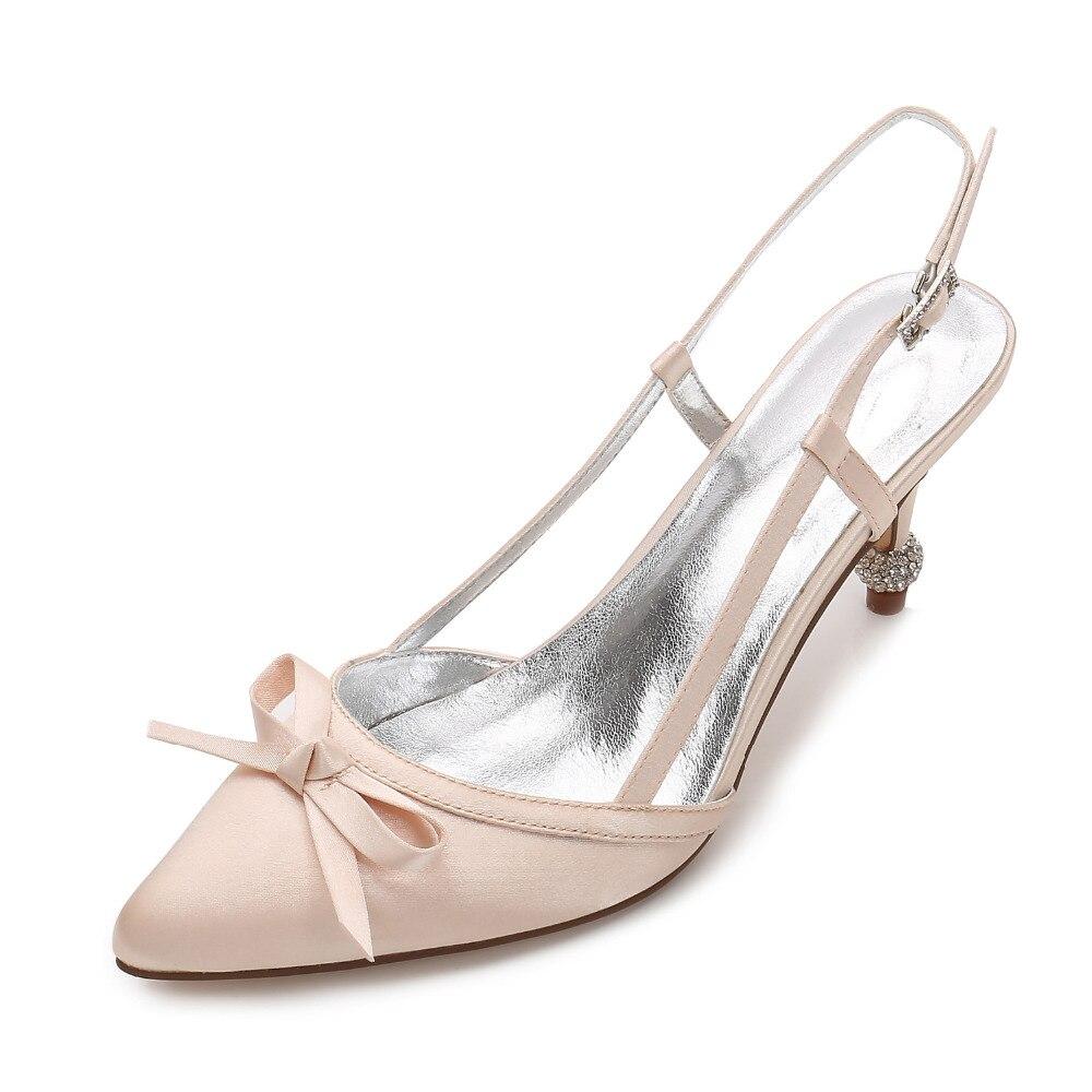 Creativesugar slingback scarpe a punta dolce bow satin abito da sera strass  di cristallo scarpe tacchi c43c90893140