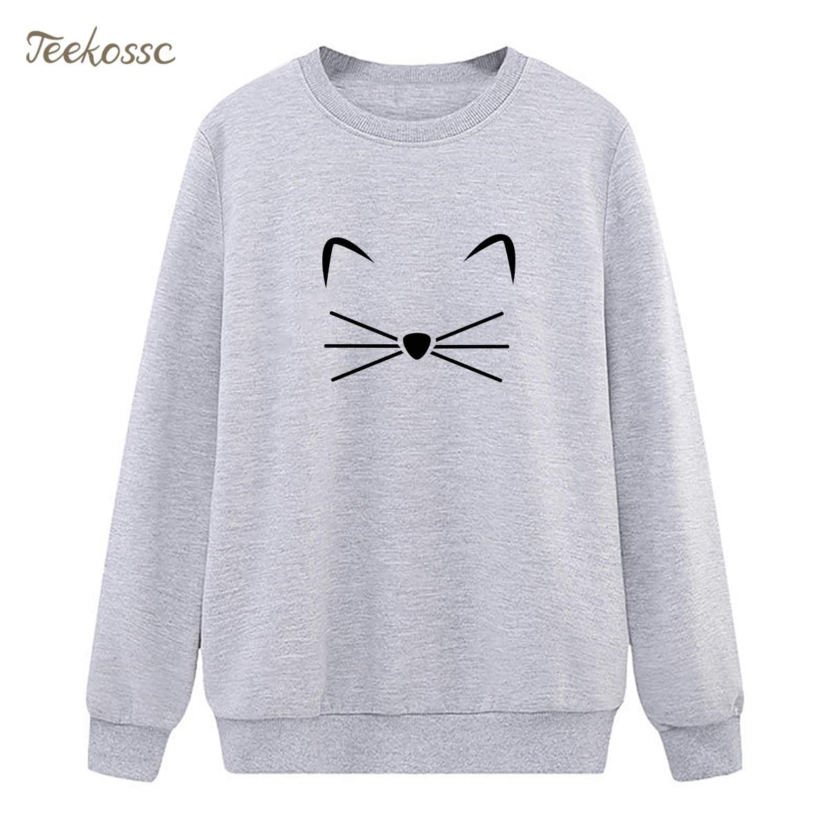 Cat Face Beard Sweatshirts Womens Kawaii Hoodies 2018 Winter Autumn Lady Pullover Fleece Hipster Sweeat Hoody Brand Clothing XXL