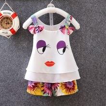 2Pcs/Set Baby Clothing Sets Girls Summer Brace Chiffon Vest +Shorts Floral Print Bow Knot Vermilion Border Baby Girl Clothes