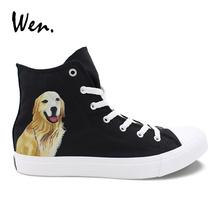 Wen Golden Retriever Pet Dog Custom Hand Painted Canvas Shoes Black High Top Sneakers Pedal Platform Flat Cross Straps Plimsolls