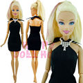 Handmade Fashion Dress Classic Black Wedding Ball Party Clothes + Necklace For Barbie Doll Princess Model Toys Child Collection