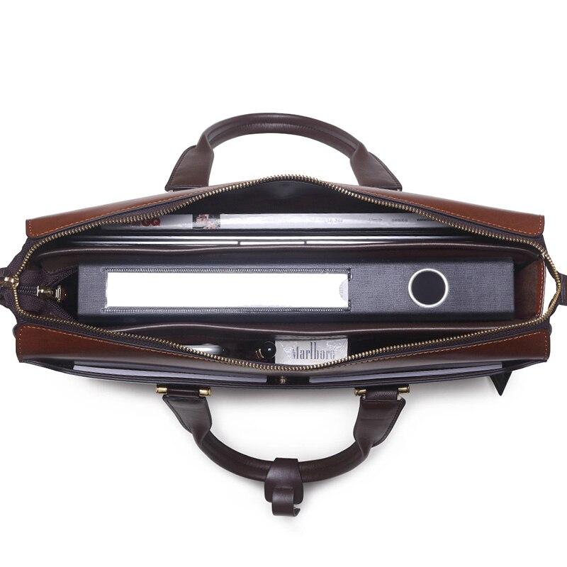 Moda famosa marca uomini d'affari borsa valigetta in pelle olio - Borse da lavoro - Fotografia 5