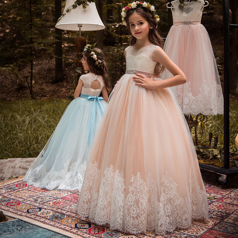 2019 New First Communion Dresses for Girls PINK BLUE O-neck Sleeveless Ball Gown Lace Appliques Flower Girl Dresses for Weddings
