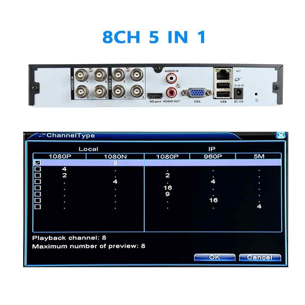 Hiseeu 4CH 8CH 1080P 5 In 1 DVR Video Recorder untuk AHD Kamera Analog Kamera Ip Kamera P2P NVR sistem CCTV DVR H.264 Vga HDMI