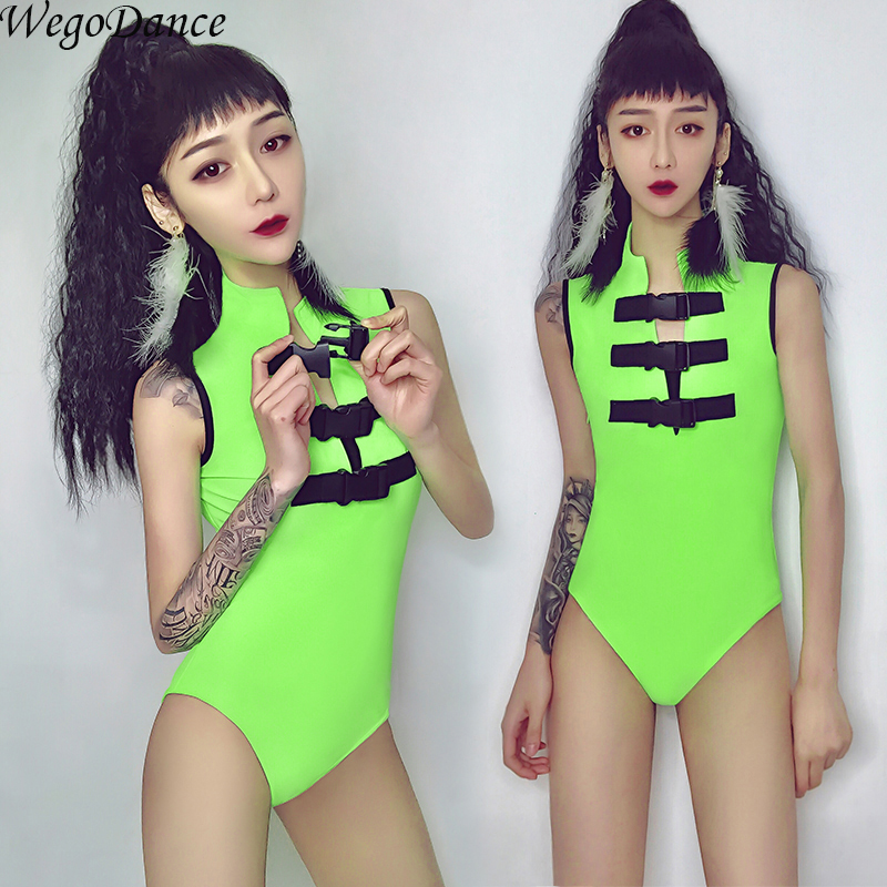 Bar DS Performance New Sexy Gogo Lead Dance Dress Nightclub DJ Female Singer Wear Fluorescent Stage Costume Green For Woman