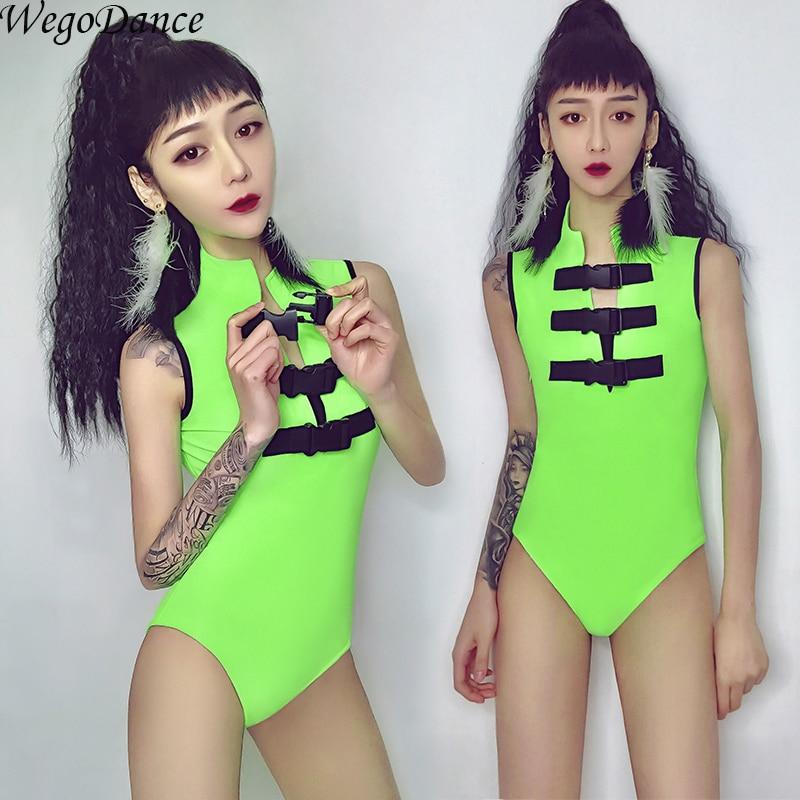 Bar DS Performance New Sexy Gogo Lead Dance Dress Nightclub DJ Female Singer Wear Fluorescent Stage Costume Green For Woman