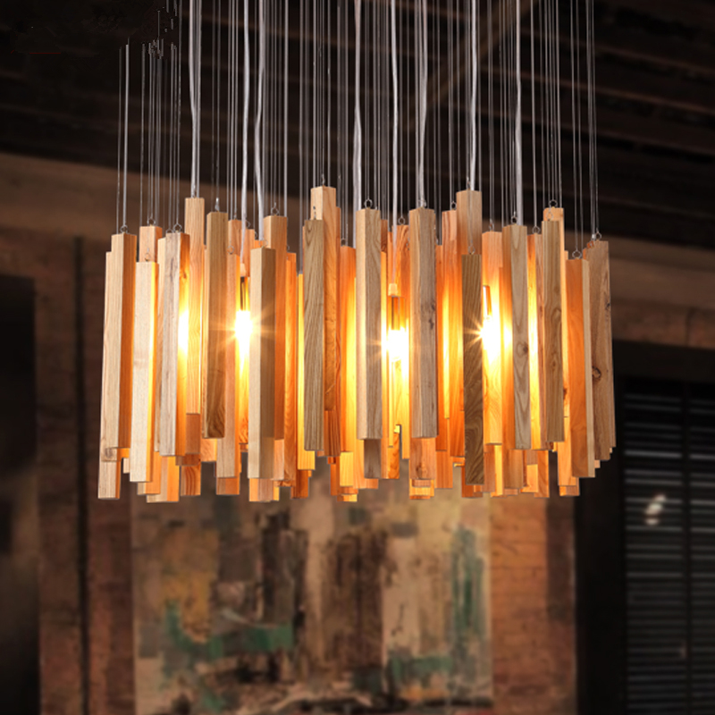 купить Nordic original wood designer art creative personality restaurant chandelier living room lights simple solid wood pendant lamps онлайн