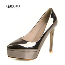2019 New Spring Autumn Platform Pumps Women Fashion Patent Leather Thin High Heels Slip On Pointed Toe Party Ladies Shoes Gold все цены