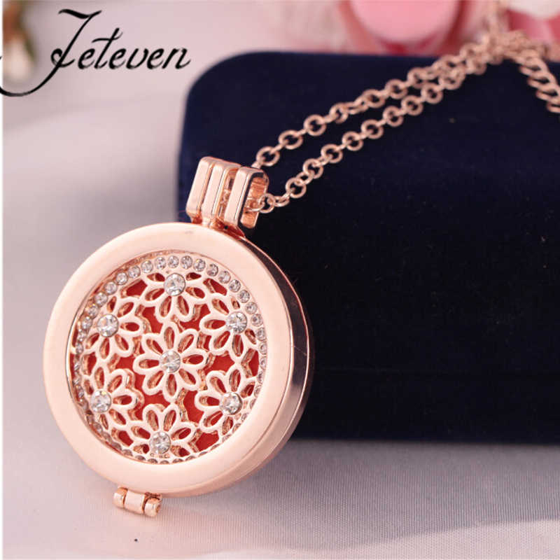 Rhinestone Hollow Out Magnetic Aromatherapy Diffuser Locket s