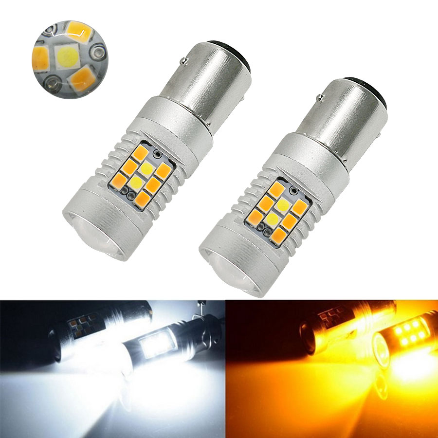 2PCS/ Pair High Power DC12V 1157 White And Yellow Dual-Color Switchback 28-SMD LED Turn Signal Bulbs Led Lamp Car Light