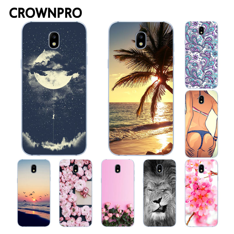 Galleria fotografica CROWNPRO TPU FOR Funda Samsung Galaxy J3 2017 Case Cover Soft Silicon Patterned Phone Back Protective sFOR Samsung J3 2017 Case