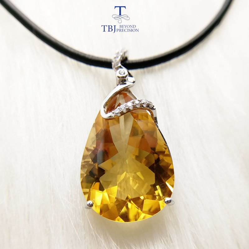 TBJ,Luxury shiny big pendant in 925 sterling silver with natural citrine gemstone special jewelry gift for women wife girlfriendTBJ,Luxury shiny big pendant in 925 sterling silver with natural citrine gemstone special jewelry gift for women wife girlfriend