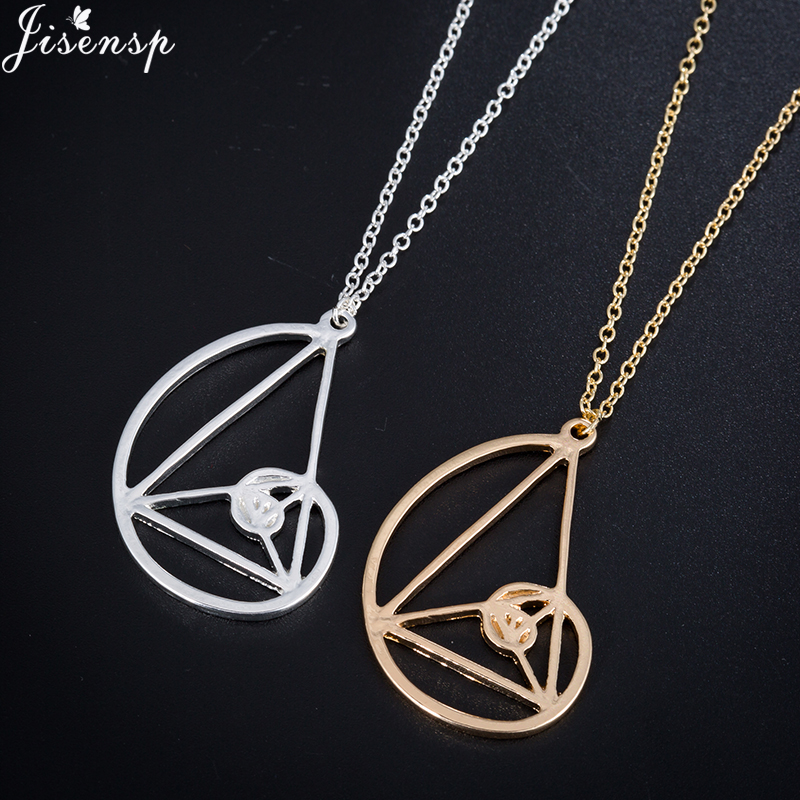 Jisensp Spiral with Triangle Necklace <font><b>Fibonacci</b></font> Golden Ratio necklaces & <font><b>pendant</b></font> for Women Collier Biology Jewelry image