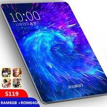 Полный размер стеклянный экран планшет 10,1 дюймов Android 9,0 Octa Core 6 ГБ ОЗУ 64 Гб ПЗУ 3g 4 г LTE 1280*800 ips 5.0MP sim-карта ips планшет