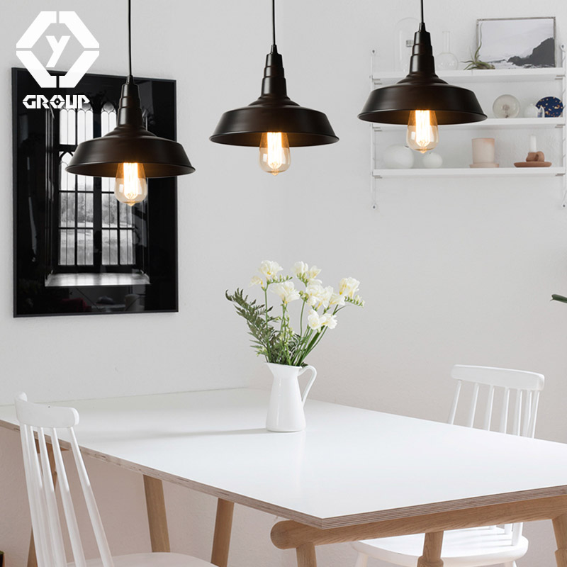 OYGROUP Vintage Industrial Loft Black Iron Single Head Pendant Lamp E27 Edison Bulb Lighting Fixture Decor