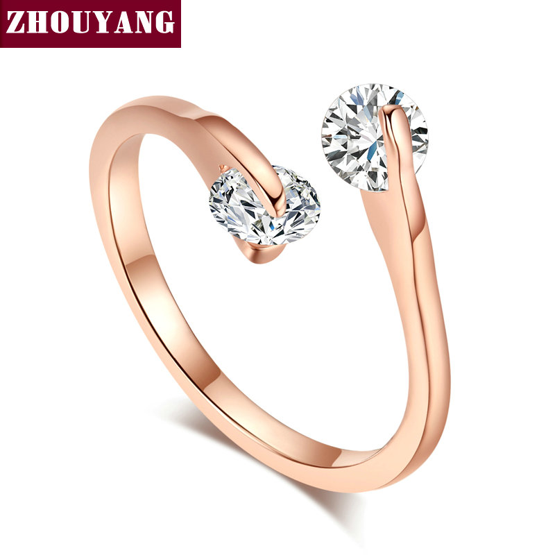 8f46cf08280 US $0.93 50% OFF| ZHOUYANG Engagement Wedding Ring For Women Classic  Elegant Twin Cubic Zirconia Rose Gold Color Fashion Jewelry Gift ZYR007-in  Rings ...