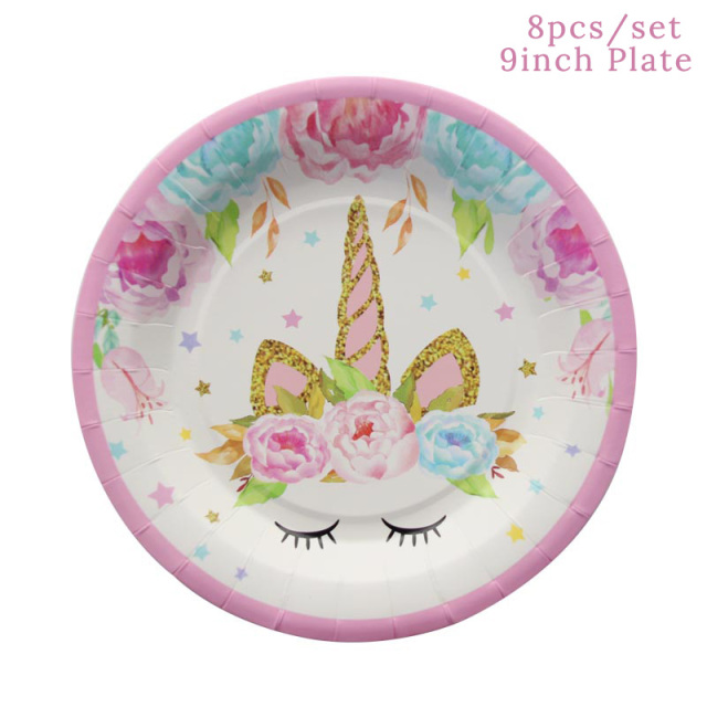 Unicorn Party Supplies Kit Unicornio Paper Plates/Cups/Napkins/Table Cover /Headband Birthday Decorations Kids Party Supplies