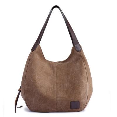 Women's Vintage Pure Color Canvas Handbags Hobos Single Shoulder Bags Vintage Solid Pocket Ladies Totes