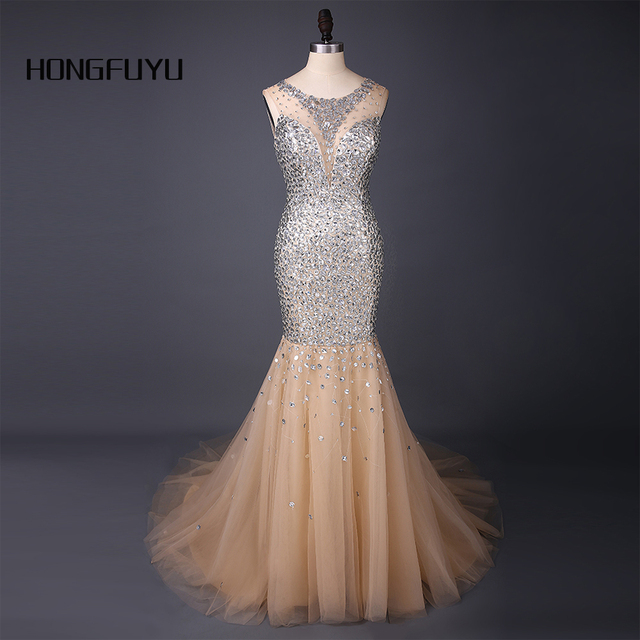 Hot Sale Prom Dresses Scoop Beading Champagne Mermaid Tulle Long