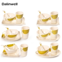 4PCS Set Restaurant Hotel Melamine Tableware Imitation Porcelain Dishes Bowls Spoon Cup Set Fast Food Buffet