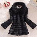 Новый 2016 зимний мех пальто из искусственного меха кролика лисий мех воротника длинный кожаный женщины большой размер пальто