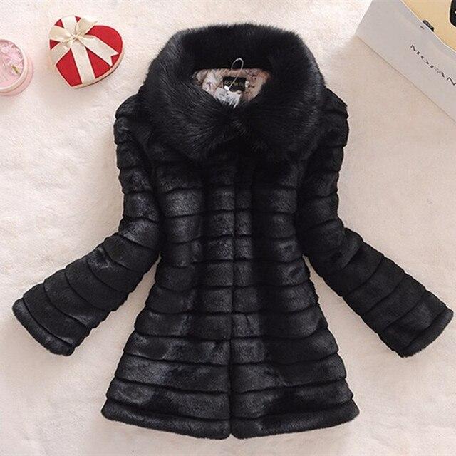 Các new 2017 winter fur coat faux fur rabbit lông cổ áo lông cáo dài da phụ nữ lớn kích thước áo
