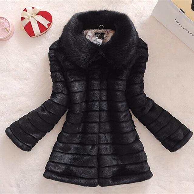 O novo 2017 do casaco de pele do inverno da pele do falso pele de coelho pele de raposa gola casaco de couro longo das mulheres tamanho grande