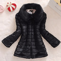 The new 2016 winter fur coat faux fur rabbit fur fox fur collar long leather women large size coat