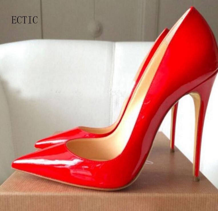 Woman high heel pumps office nude shoes 2018 Pointed Toe Patent Leather red white women wedding shoes bride 12CM Women Stilettos