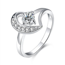 2016 Hot silver zircon rings fashion jewelry for women classic glamor style top quality hot