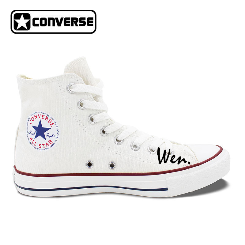 High Top White Black Converse Design Summer Style Sea Beach Sunshine Palm Tree Surfing Unique Canvas Sneakers